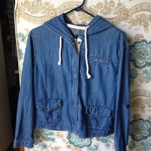 Urban Outfitters Hooded Denim Jacket